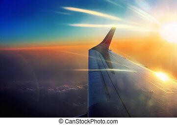levers de soleil, vol, rayons, aile avion