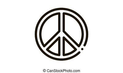lgbt, animation, icône, amour, hippie, signe, liberté