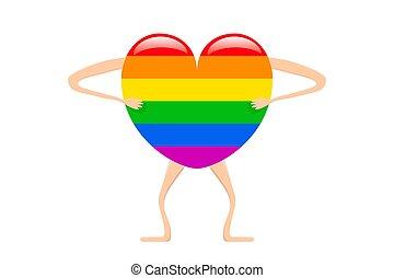 lgbtq, arc-en-ciel, dessin animé, représentation, humain, vecteur, illustration, fierté, coeur, forme.