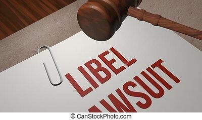 libel, procès, concept, légal