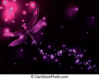 libellule, plasma, cœurs
