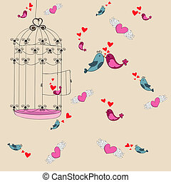 liberté, aimer oiseau, fond, valentin