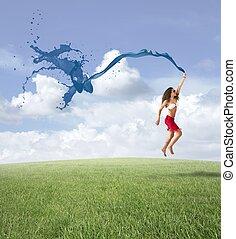 liberté, girl, concept, sauter