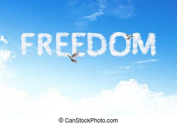 liberté, mot, nuage, ciel