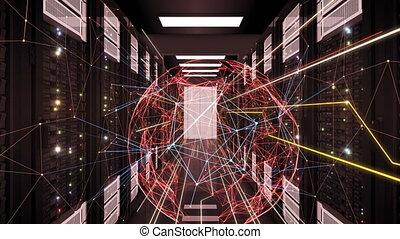 liens, animation., global, connexions, sphère, technologie, 3840x2160., étagères., réseau, concept., loopable, numérique, résumé, 3d, uhd, business, écoulement, centre calculs, salle, serveur, 4k, futuriste