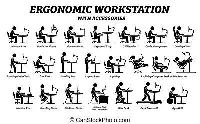 lieu travail, ergonomique, bureau, informatique, workstation.