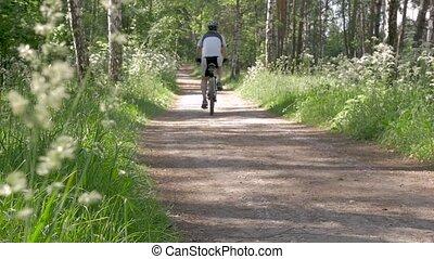 lifestyle., vélo, plomb, gens, sain, park., équitation, homme