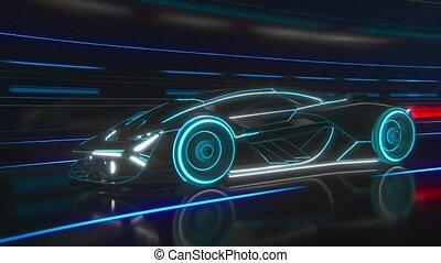 light., bleu, stylisé, bas, résumé, voiture, blanc, sportif, conduit, tunnel, noir, lines., clair
