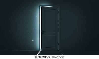 light., ciel, porte, ouverture