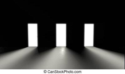 light., ouverture, monochrome, sombre, concept, shadows., animé, 3d, trois, jeu, image., portes, blanche salle