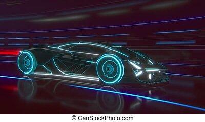 light., tunnel, speed., voiture, supercar, silhouette, conduite, fait, lignes, highway., détaillé, sports, bleu, modèle, courses, par, jeûne, élevé, noir