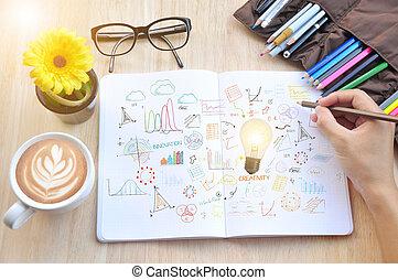 lightbulb, écrire, concept, business, innovation, idées, book., stratégie, note, creativity., nouveau, main