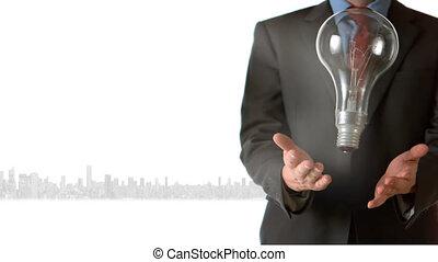 lightbulb, attraper, animation, sur, lancement, cityscape, homme affaires