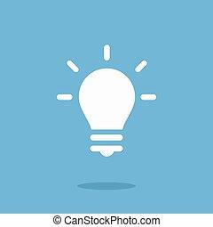 lightbulb, blanc, vecteur, icône
