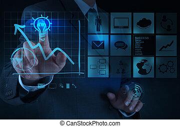 lightbulb, concept, dessine, business, solution, main, informatique, homme affaires, interface, nouveau