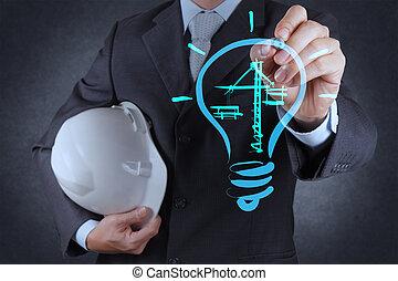 lightbulb, construction, dessin, ingénieur