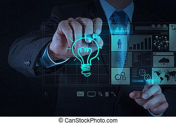 lightbulb, dessine, main, informatique, homme affaires, interface, nouveau