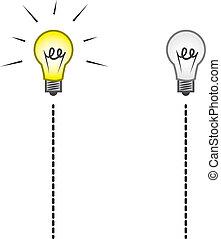 lightbulb, fermé, ficelle