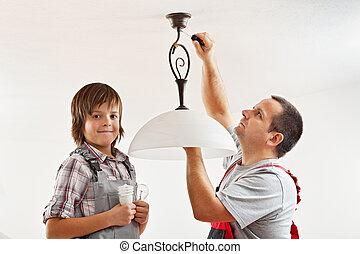 lightbulb, fluorescent, changer, incandescent, une