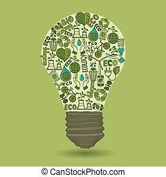 lightbulb, gaspillage, croquis, écologie, icônes