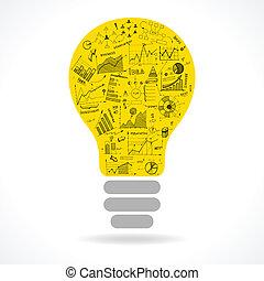 lightbulb, griffonnage, idée, diagrammes, infographics, icône