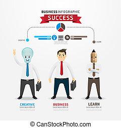 lightbulb, homme affaires, réussi, infographic, dessin animé, character., crayon, concept, design.