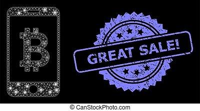 lightspots, bitcoin, cachet, sale!, réseau, grunge, toile, clair, grand, banque, mobile