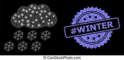 lightspots, #winter, cachet, neige, réseau, gratté, toile, clair, nuage, timbre