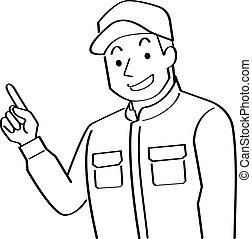 ligne, écriture, ceci, explique, style, dessin, usures, coveralls.-, stylo, jeune, feutre, quoique, homme, casquette, finger., pointage, illustration, mécanicien