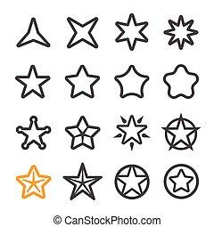 ligne, étoile, icône