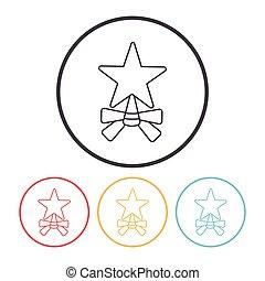 ligne, étoile, noël, icône
