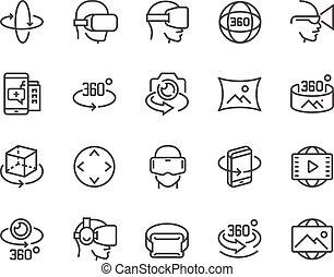 ligne, 360 degré, icônes
