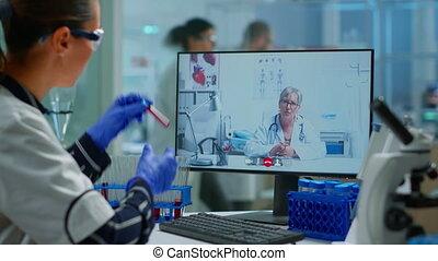 ligne, advices, étudiant, pc, offrande, médecin, utilisation, docteur, chimiste, monde médical