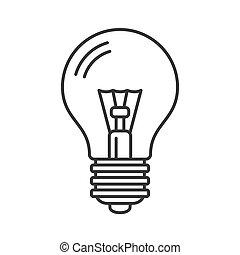 ligne, ampoule, vecteur, style, lumière, icon., électrique