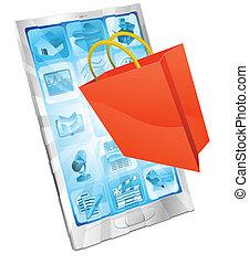 ligne, app, concept, achats
