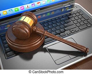 ligne, auction., marteau, laptop., internet
