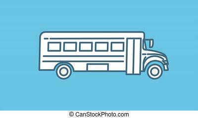 ligne autobus, alpha, icône, canal, école