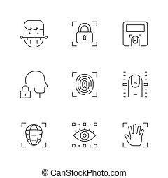 ligne, biométrie, icônes, ensemble