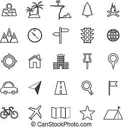 ligne, blanc, emplacement, fond, icônes