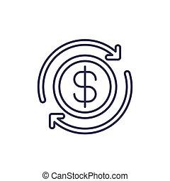 ligne, cashback, blanc, icône