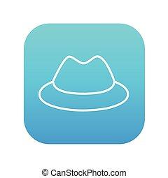 ligne, chapeau, icon., classique
