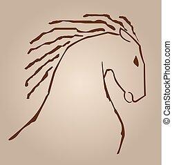 ligne, cheval, dessin