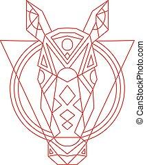 ligne, cheval, tête, géométrique, dessin