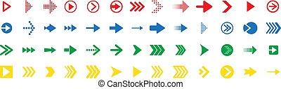 ligne, coloré, flèche, ensemble