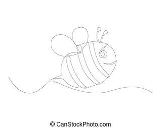 ligne, continu, abeille, art