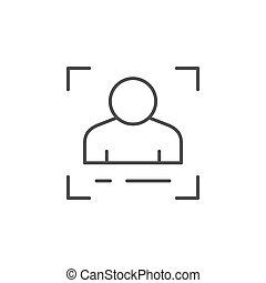 ligne, contour, identification, icône, personne