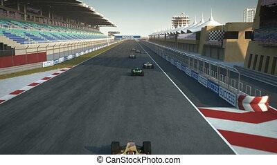 ligne, croisement, racecars, finir