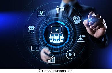 ligne, e-apprendre, webinar, education, séminaire, business, concept.