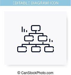 ligne, editable, illustration, icon., décision, diagramme
