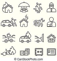 ligne, ensemble, assurance, icône